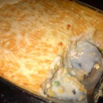 Finished fish pie fresh out of the oven